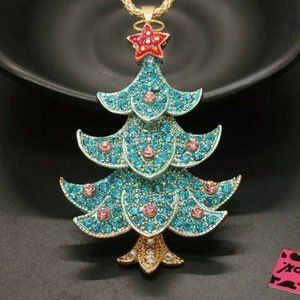 Betsey Johnson Green Red Christmas Tree Necklace